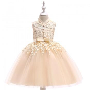 Beautiful Solid Lace Design Sleeveless Party Dress for Girl