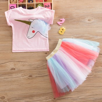 Trendy Unicorn Print Short-sleeve Tee and Colorful Tulle Skirt Set for Girl