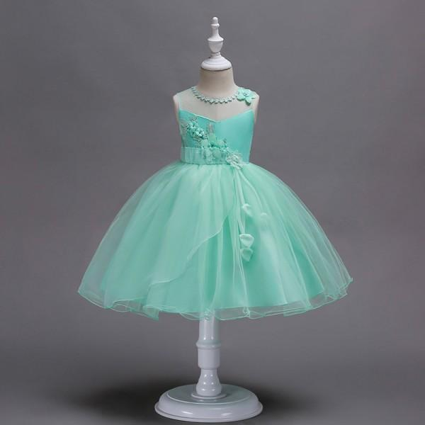 Pretty Solid Flower Decor Sleeveless Party Tulle Dress for Girl