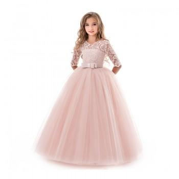 Beautiful Lace Flower Half-sleeve Maxi Tulle Party Dress for Girl