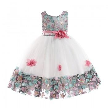 Beautiful Colorful Flower Embroidery Tulle Party Dress for Toddler Girl and Girl