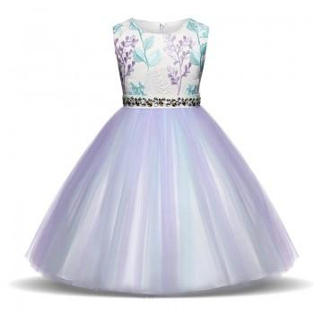 Beautiful Colorful Flower Embroidery Rhinestone-belt Tulle Party Dress