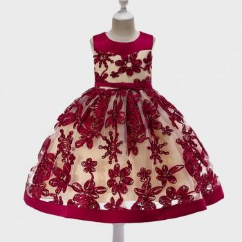 Pretty Floral Embroidery Color Blocked Bow Decor Party Dress
