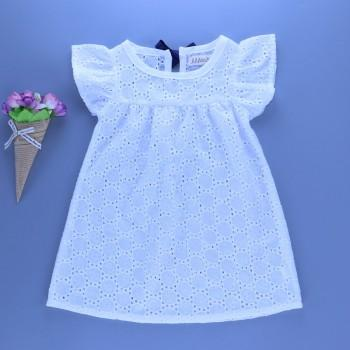 Flutter Sleeves Hollow Out Dress for Baby Girl
