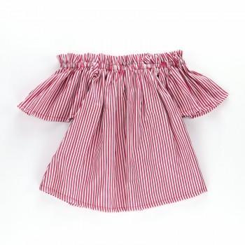 Trendy Off Shoulder Short-sleeve Striped Top for Toddler Girl