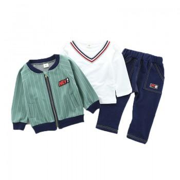 3-piece Stylish Stripes Long-sleeve T-shirt,Jacket and Pants Set for Baby and Toddler Boy