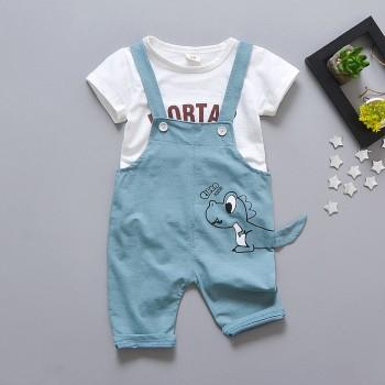 2-piece Adorable Letters Print T-shirt and Dino Print Overalls for Toddlers