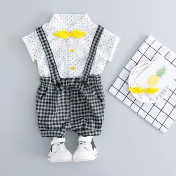 2-piece Dotted Short-sleeve Tee and Plaid Suspender Shorts for Toddler Boy