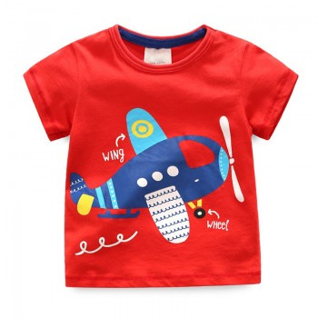 Stylish Plane Print Short-sleeve Tee in Red for Baby Boy and Boy