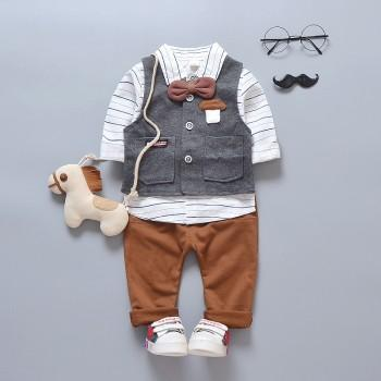 3-piece Handsome Striped Long-sleeve Shirt, Vest and Pants Set for Baby Boy
