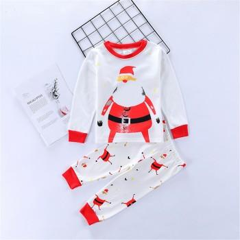 2-piece Stylish Santa Patterned Long-sleeve Top and Pants Set for Baby and Kid