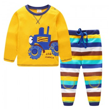 Cute Car Print Top and Striped Pants Set for Baby Boy and Boy