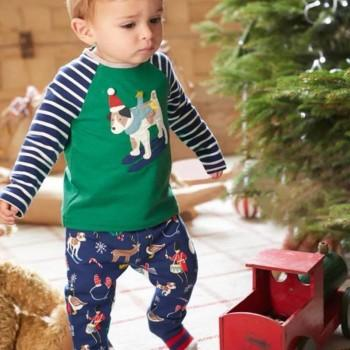 Stylish Dog Appliqued Striped Top and Christmas Graphic Patterned Pants Set for Baby Boy and Boy