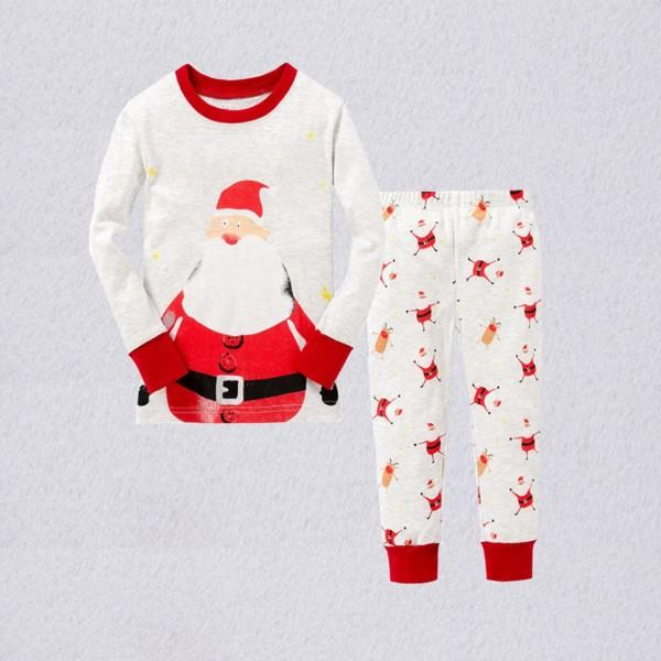 2-piece Stylish Santa Print Long-sleeve Top and Pants Set