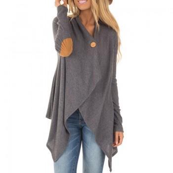 Women Stylish Asymmetric Knitted Cardigan in Grey
