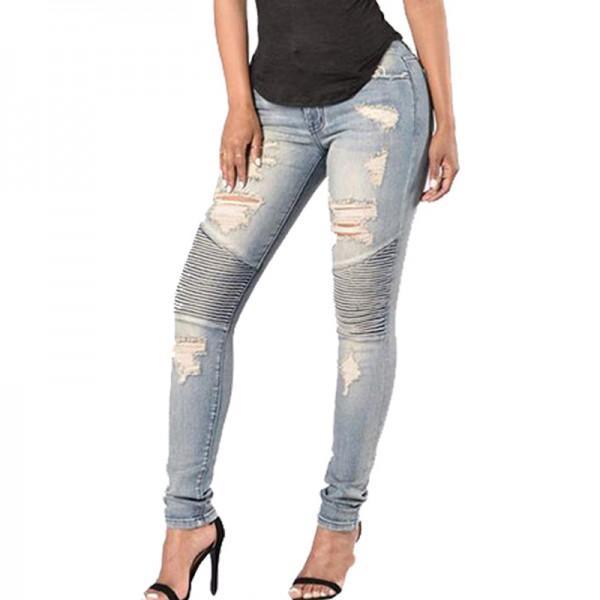 Women Stylish Ripped Skinny Jeans In Light Blue Patpat
