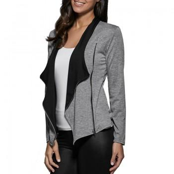 Solid Casual Coat with Side Zipper Closure for Women