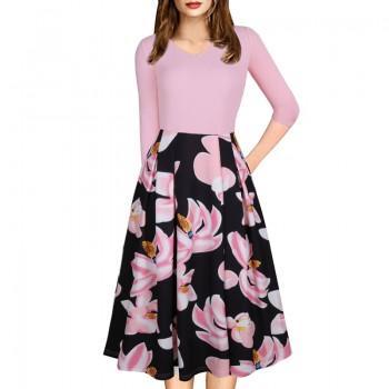 Splendid Flower Print Long-sleeve V-neck Dress for Women