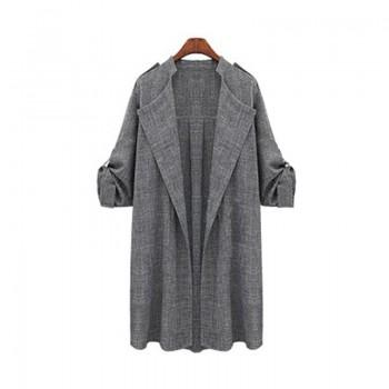 Casual Solid Grey Long-sleeve Outerwear for Women
