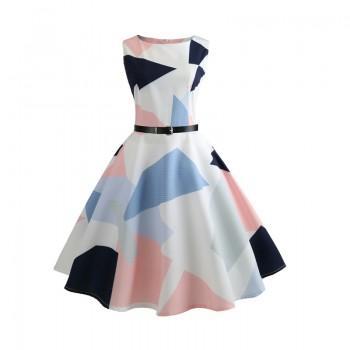 Trendy Geo Pattern Vintage A-line Dress with Belt for Women