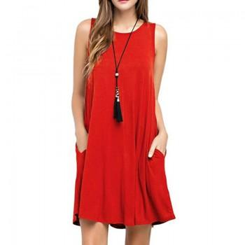 Solid Round Collar Loose Sleeveless Dress for Women