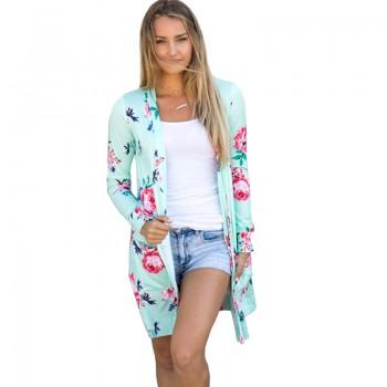 Trendy Open Front Floral Cardigan