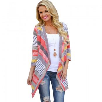 Trendy Open Front Striped Cardigan