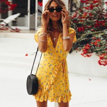 Pretty Ruffle Floral Short-sleeve Dress