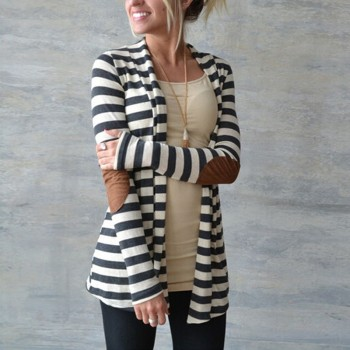 Trendy Striped Long-sleeve Cardigan
