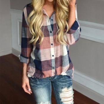 Chic Plaid Cropped-sleeve Shirt
