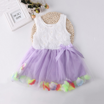 Pretty Flower Decor Tulle Party Sleeveless Dress for Baby Girl