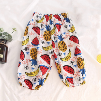 Trendy Fruit Print Elastic Waist Pants for Baby Boy and Boy