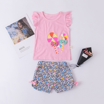 2-piece Windmill Print Flutter Sleeves Top and Floral Shorts Set for Baby and Toddler Girl