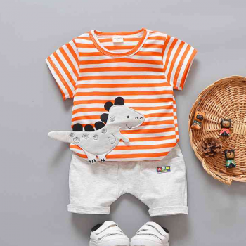 Adorable Dinosaur Appliqued Striped Short-sleeve Tee and Shorts for Baby Boy