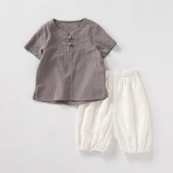 Casual Solid Short-sleeve Tee and Shorts Set for Toddler Boy