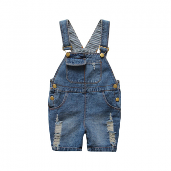 Stylish Ripped Denim Suspender Shorts for Toddler and Kid