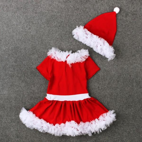 2-piece Sweet Christmas Lace Ruffled Red Dress and Hat for Baby Girl/Girl