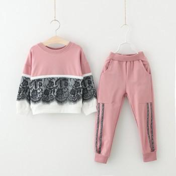 Sweet Lace Decor Pullover and Pants Set for Baby Girl/Girl