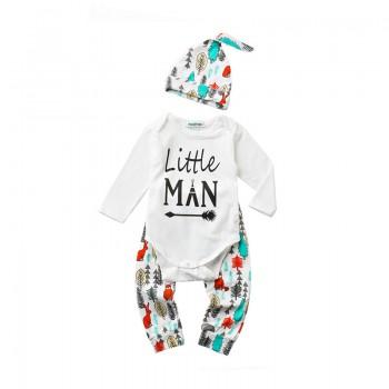 3-piece Sweet Letter Long-sleeve Bodysuit, Printed Pants and Hat for Baby