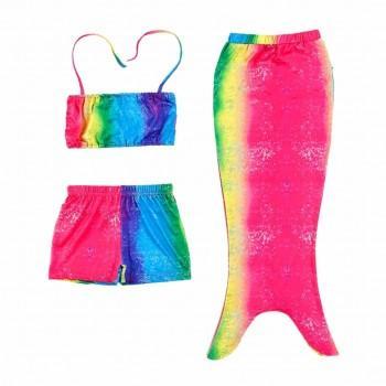 Mermaid Beauty Colorful Rainbow Swim Top, Bottom and Mermaid Tail(3pc-set)