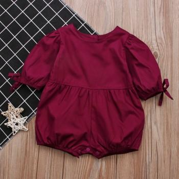 Baby Girl's Solid Puff-sleeves Romper