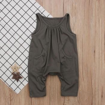 Stylish Solid Pocket Design Sleeveless Jumpsuit for Baby Girl