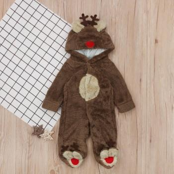 Lovely Deer Design Long-sleeve Flannel Footed Jumpsuit for Baby