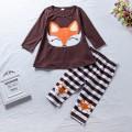 2-piece Cute Fox Print Long-sleeve Top and Striped Pants Set