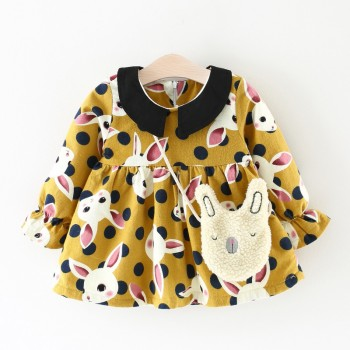 Adorable Rabbit Print Long-sleeve Dress with a Bag for Baby Girl