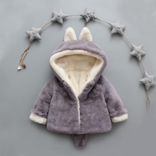 Adorable Bear Design Hooded Fleece Coat for Baby