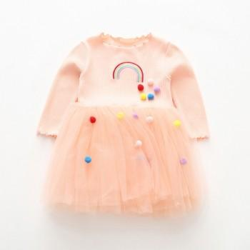 Sweet Pompon Embroidered Rainbow Tulle Dress for Girl