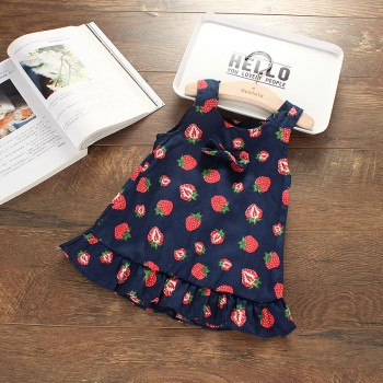 Sweet Strawberry Pattern Scoop Neck Dress for Baby Girl