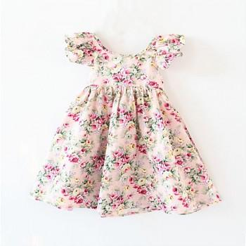 Dazzling Floral Pattern Flounced Shoulder Dress for Baby Girl