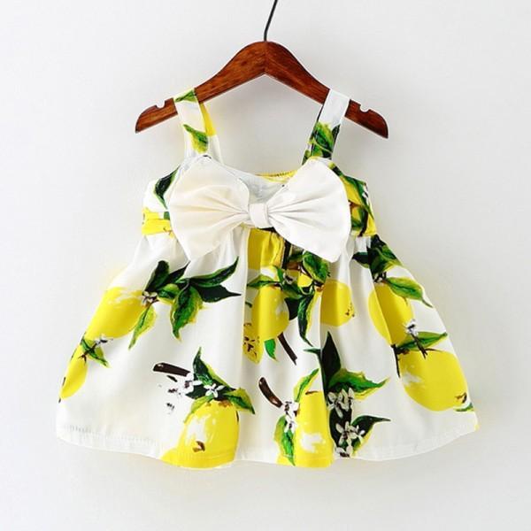 Stylish Lemon Bow Detail Slip Dress for Baby and Toddler Girl